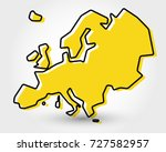 yellow outline map of europe ... | Shutterstock .eps vector #727582957