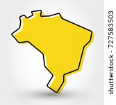yellow outline map of Brazil, stylized concept