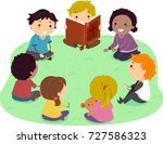 illustration of stickman kids... | Shutterstock .eps vector #727586323
