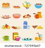 healthy breakfast food vector... | Shutterstock .eps vector #727595647