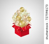 open red gift box and departing ... | Shutterstock .eps vector #727598173