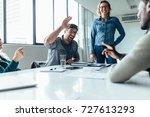 businessman offering a high... | Shutterstock . vector #727613293
