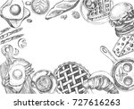 background with ink hand drawn... | Shutterstock .eps vector #727616263