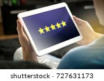 five star rating and review... | Shutterstock . vector #727631173