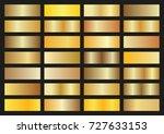 vector set of gold gradients on ... | Shutterstock .eps vector #727633153