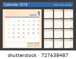 2018 calendar. desk calendar... | Shutterstock .eps vector #727638487