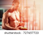 eating food salad bodybuilding... | Shutterstock . vector #727657723