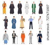 set of people in traditional... | Shutterstock .eps vector #727671007