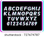 vector distorted glitch font.... | Shutterstock .eps vector #727674787