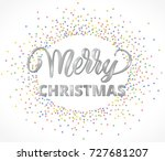 merry christmas card with hand...   Shutterstock .eps vector #727681207