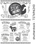 steak menu for restaurant and... | Shutterstock .eps vector #727696243