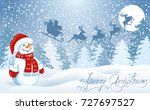 christmas card with funny... | Shutterstock .eps vector #727697527
