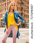 fashionable blonde woman in... | Shutterstock . vector #727698487