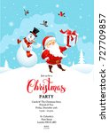 santa card winter party | Shutterstock .eps vector #727709857