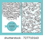 hand drawing vector seafood... | Shutterstock .eps vector #727710163
