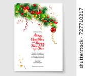 christmas tree decoration banner | Shutterstock .eps vector #727710217