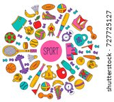sport doodle icons colorful... | Shutterstock .eps vector #727725127