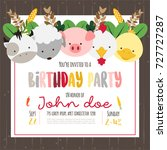 cute farm animals cartoon... | Shutterstock .eps vector #727727287