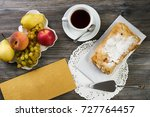 puff pastry apple strudel.... | Shutterstock . vector #727764457