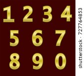 a complete set of gold numbers... | Shutterstock .eps vector #727764853
