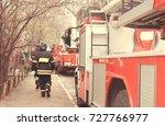 fire with black smoke in... | Shutterstock . vector #727766977