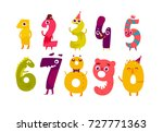 set of cute number characters   ... | Shutterstock .eps vector #727771363