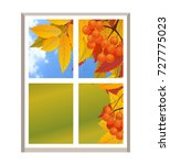 window with a landscape autumn... | Shutterstock . vector #727775023