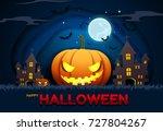 halloween paper cut blackground ... | Shutterstock .eps vector #727804267