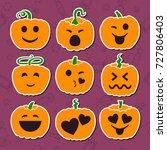set of emotional cartoon smiles ... | Shutterstock .eps vector #727806403