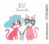 cute cats drinking a drink with ...   Shutterstock .eps vector #727818853