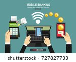 mobile payments  pos terminal... | Shutterstock .eps vector #727827733