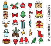 set of xmas hand draw stickers... | Shutterstock .eps vector #727828093