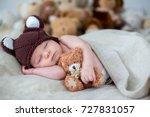 little newborn baby boy ... | Shutterstock . vector #727831057