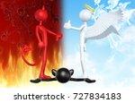 thumbs down devil thumbs up... | Shutterstock . vector #727834183