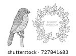 bullfinch and wreath isolated.... | Shutterstock .eps vector #727841683