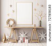 mock up poster in the christmas ... | Shutterstock . vector #727858183