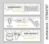 music festival banner line art... | Shutterstock .eps vector #727863787