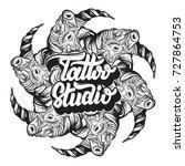 tattoo studio. vector... | Shutterstock .eps vector #727864753