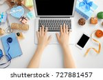 woman working with laptop at... | Shutterstock . vector #727881457