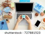 woman holding gift box over... | Shutterstock . vector #727881523