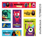 monsters banners set or monster ... | Shutterstock .eps vector #727888153