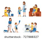 mother and daughter  spend... | Shutterstock .eps vector #727888327
