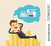 business man lies on a pile of... | Shutterstock .eps vector #727892257