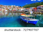 colorful greece   beautiful... | Shutterstock . vector #727907707