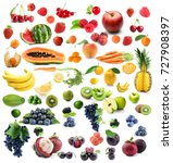 collage of different fruits and ... | Shutterstock . vector #727908397