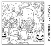 halloween background cemetery... | Shutterstock .eps vector #727914973