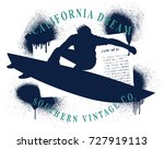surf grunge frame with surfer... | Shutterstock .eps vector #727919113