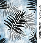palm leaves pattern  tropical...   Shutterstock . vector #727919827