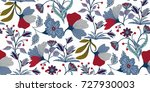 seamless floral pattern in... | Shutterstock .eps vector #727930003