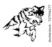 silhouette tribal soar wolf... | Shutterstock .eps vector #727936177
